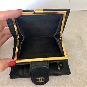 Chanel Vintage Black Leather CC Kiss Lock Wallet